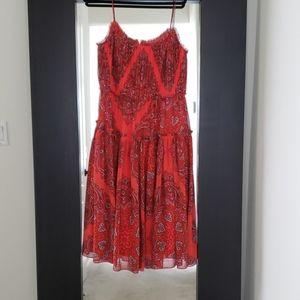 Paisley Print Maxi Dress - shades of red